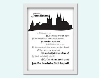 Das kölsche Grundgesetz, Typography Print zum drucken / download PDF und JPG /18x24cm groß/ Köln / Karneval