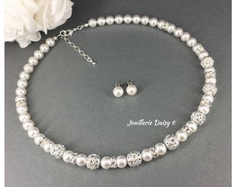Bridesmaid Necklace Jewelry Set White Necklace Bridesmaid Gift for Her Maid of Honor Gift Bridal Jewlery Gift Idea for Bride Mother of Groom
