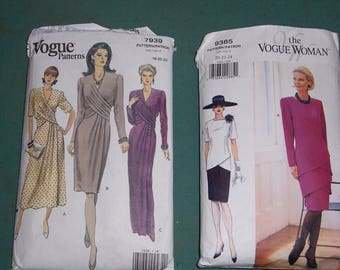 Stylish Vogue Patterns..Vogue 7939 or Vogue 9385..Uncut Misses Fashion Conscious Dress Patterns..Classic Dress..The Vogue Woman Pattern
