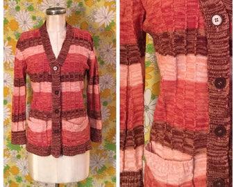 SALE! 70s Vintage Space Dye Cardigan Sweater Large XL