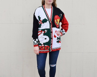 Vintage Snoopy Woodstock Christmas Cardigan Sweater, Peanuts Checkered Flag Unisex Not so Ugly Christmas Jumper, Snoopy Holiday Sweater