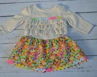 Girls 0-3mos Valentine Conversation Heart dress
