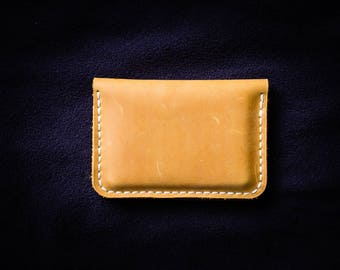 Yellow leather credit card wallet /   Minimalist wallet / Leather Credit Card holder / Front pocket wallet / PERSONALIZED