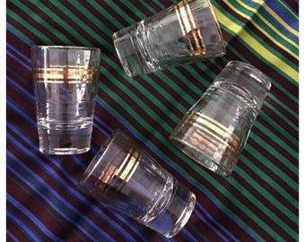 Set of 4 Vintage Heavy Shot Glasses with Chunky Base, Textured Ribbed Detail, Gilt Trim
