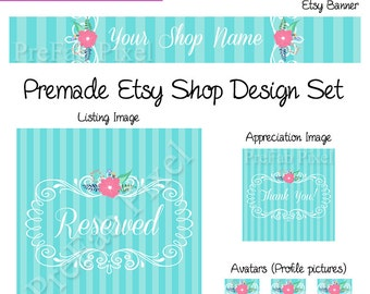 Boutique Etsy Banner Set, Flower Etsy Cover Photo, Blue Stripe Etsy Cover, Pink Flower Etsy Banner, Shabby Chic Banner