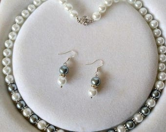 10% OFF- 18 in/460 mm L-Certified Natural Fine White Gray South Sea Shell Pearl Necklace + Earrings