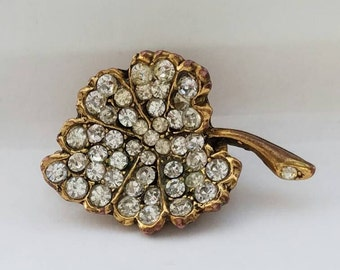 Brooch, Rhinestone Pin, Encrusted Leaf, Gold Pin, Pave Set, Gold Vermeil, Vintage Jewelry, Gift for Her, 1950s 1960s