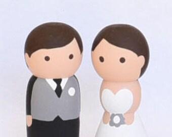 Bride and Groom Peg Dolls Wedding Cake Topper