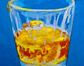"My Relationship With Whiskey Is On the Rocks #203 (ARTIST TRADING CARDS) 2.5"" x 3.5"" by Mike Kraus"