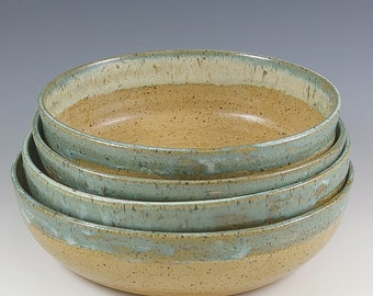 Pottery 7 - 8 Inch Bowls Set of Four, Ceramic Bowls Wedding Gift, Small Serving Bowls, Kitchen Prep, Dessert Salad Bowls, Gourmet Cooking
