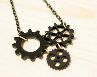 Steampunk Gear Necklace,Engineering Necklace,Geek Necklace,Mechanical Engineer Gift Idea,Steampunk Jewelry,Gear Jewelry