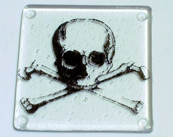 Skull Fused Glass Coaster, Skull and Crossbones, Tattoo Coaster, Drink Coaster