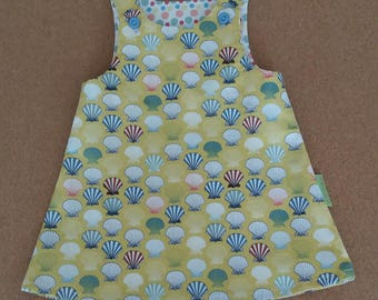 Baby dress, pinafore, girls dress, summer dress, sun dress, handmade dress, sea shells. Christening gift, naming day gift. Age 3-6 months