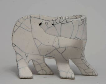 Polar Bear Cub - 2, Hand Built Sculpture