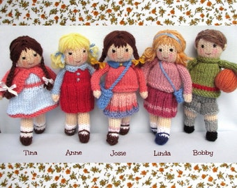 Little Friends in Autumn - toy doll knitting pattern - pdf INSTANT DOWNLOAD - Dollytime knitted doll