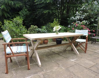 Large Rustic Outdoor Chunky Wooden Patio Table