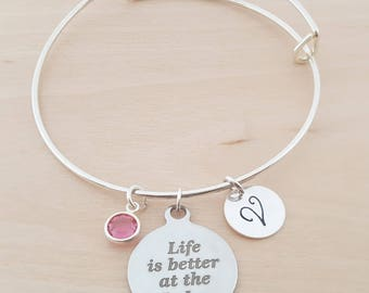 Life Is Better At The Lake - Silver Adjustable Bangle - Personalized Initial Bracelet - Swarovski Crystal Birthstone Jewelry - Gift For Her