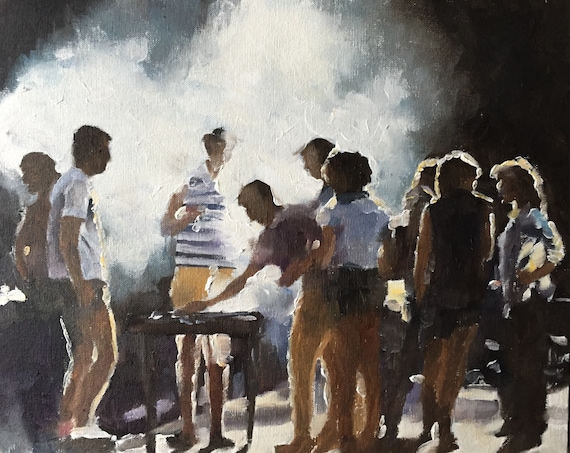 The Barbeque Painting Art PRINT  - Art Print - from original painting by J Coates
