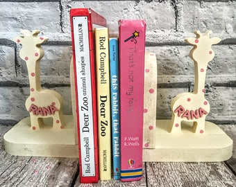 Bookends Unicorn Tutu Dinosaur decor Fairy Tiara Rainbow Baby shower Gift Nautical Woodland nursery decor Baby boy gift Giraffe gift