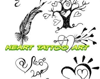 Heart tattoo Art, heart tattoo clip art, pdf download