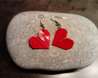 """Hearts"" red origami earrings"