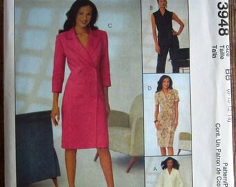Misses Lined Jacket, Vest, Dress and Pants Sizes 8 10 12 14 McCalls Pattern 3948 UNCUT