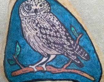 Hand painted rock: Snow owl