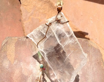 Selenite gem-art mobile sculpture