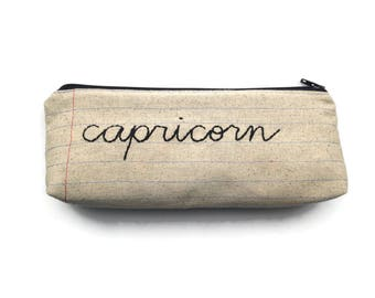 Your Choice of Zodiac Sign Custom Zipper Pouch - Notebook Paper Fabric - Hand Embroidered Pencil Case - Makeup Bag - Capricorn Zodiac Bag