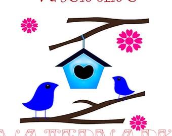 Birdhouse poem Valentine card topper large tag 4 per A4 sheet download digital jpg embellishments card making tags papercraft