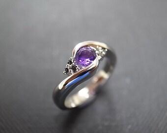 Diamond Wedding Band with Amethyst and Black Diamond in 14K White Gold, Black Diamond Engagement Ring, Black Diamond Ring, Amethyst Ring