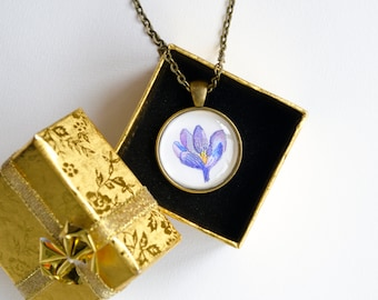 Crocus flower necklace Crocus necklace Crocus miniature painting Crocus Watercolor Crocus Pendant Watercolor necklace Floral necklace