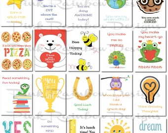 20 Lunch Box Notes Cards with Motivational Messages for 2016-17 Kids Children Kindergarten | back to school | Cute | Love Notes