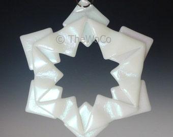 BAUBLES White Iridized Snowflake, Fused Glass Ornament Suncatcher