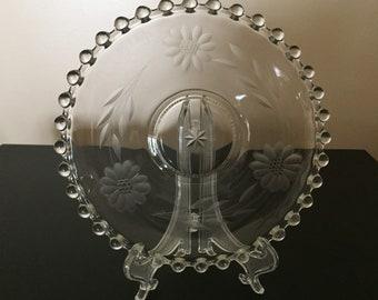 "Imperial Glass Crystal Candlewick pattern W J Hughes Cornflower cut 7"" Mayo Underplate"