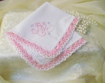 Crochet Handkerchief, Crochet Hanky, Crochet Hankie, Hand Crochet,  Custom Embroidered, Love Gift, Ladies Gift, Ready to ship