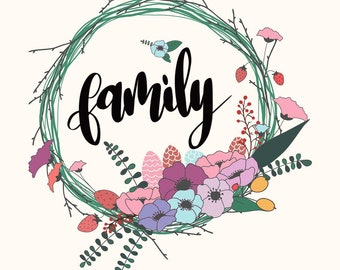 """Instant Download - Room/Home Decor - Hand-Lettered Sign """"Family"""" Wreath"""