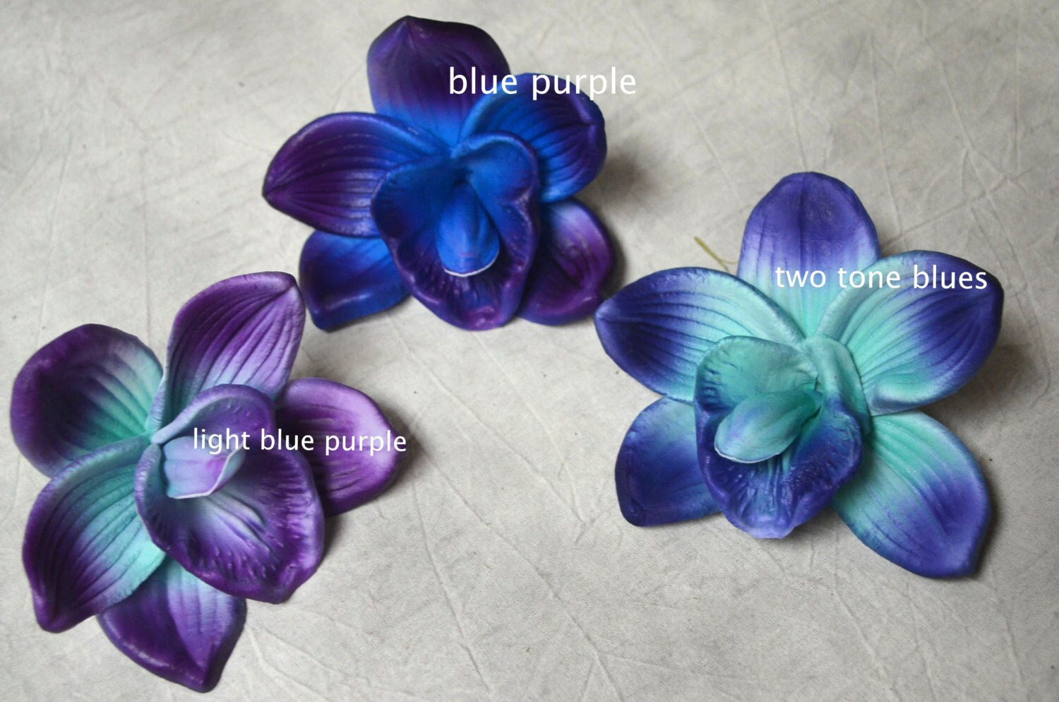 Blue Purple Orchid Blooms Cake Toppers Decoration Flowers