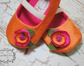 Baby Girl Shoes Toddler Girl Shoes Infant Shoes Soft Soled Shoes Wedding Shoes Flower Girl Shoes Summer Shoes Orange Girl Shoes -Chole
