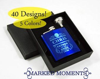4 Groomsman Flask 3 PIECE GIFT Set - 40 Elegant Designs - engraved flask set includes black flask, funnel presentation gift box