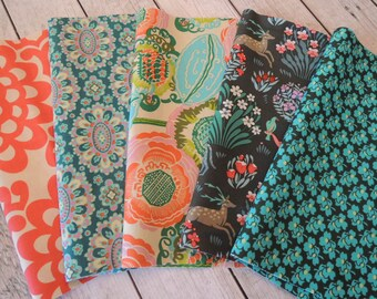 Amy Butler Fabric, Rag Quilt Kit, Easy to Make, Personalized, Bin F, Sewing Available, FAST Shipping
