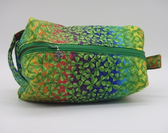 Rainbow Pouch, Shamrock Bag, Makeup Bag, Ditty Bag, Toiletry Kit, Cosmetics Case, Good Luck Bag, Shave Kit, Travel Case, Irish Gifts