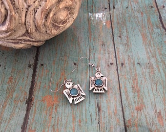 Silver and Turquoise Bird Earrings