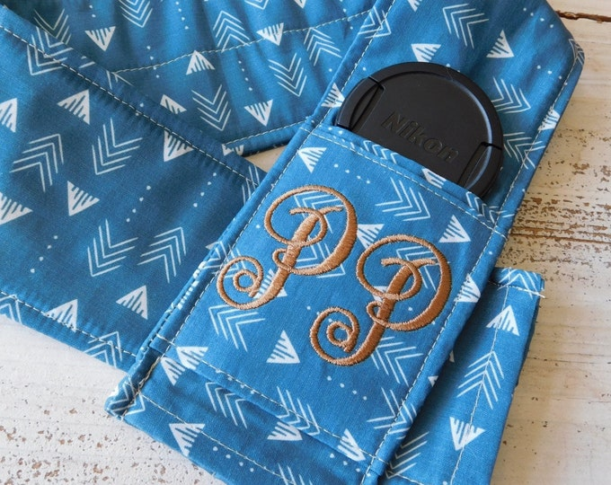 Custom Patchwork Camera Strap Cover with Lens Cap Pocket and Monogram
