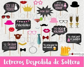 Letreros despedida de soltera para imprimir. Letreros para selfies. Carteles para fotos Español. Bridal shower Photo booth props Spanish.