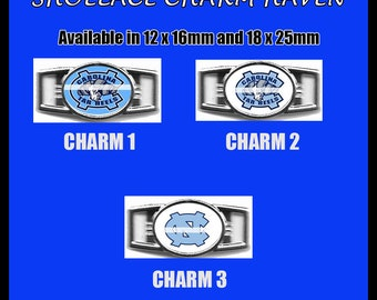 NORTH CAROLINA TARHEELS Shoelace Charm  Paracord Bracelet Charm Oval Charm 12 x 16mm or 18 x 25mm Charms