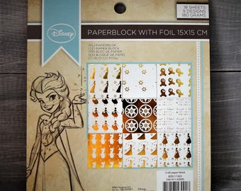 Disney paper, paper 15 x 15, gold and white sheets, scrapbooking, cardmaking, crafting - frozen