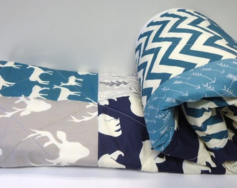 Modern Baby Quilt,Birch, Art Gallery Fabric, Baby Boy Bedding, Chevron, Gray, Grey, Navy, Teal, Woodland, Elk, Buck, Bear, Deer Baby Quilt