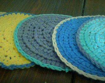 Hand crocheted, colorful coasters