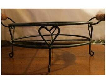 Wrought Iron Wire Basket or Rack HEART DESIGN & Wooden Handles